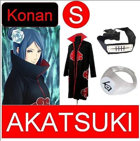 Günstige Naruto Cosplay Set für Konan - Akatsuki mantel (S) + Akatsuki Konan Kaku Ring(weiß)+ Konan Kopfband (Konan Cosplay Set)