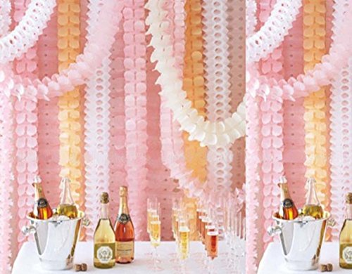 XMSSIT wiederverwendbare, hängende Girlande, Weihnachts-, Party- oder Hochzeits-Dekoration, dreidimensionale vierblättrige Kleeblattform, Papier, 6 Stück, je 3.6m lang