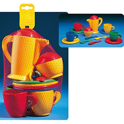 Spielzeug Kaffee Service für 4 kleine Personen, 16 teilg, mit Kaffeekanne und Zuckerdose:...