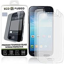Protection d'Écran Premium en Verre Trempé pour Samsung Galaxy S4 Mini - Vitre de Protection avec Revêtement Oléophobe Compatible avec Samsung Galaxy S4 MINI - Anti-Empreinte et Anti-Rayures - Totale Clarté et Fonctionnalité Écran Tactile - 1 Chiffon de Nettoyage en Micro-Fibre ECO-FUSED inclus (paquet de 3)
