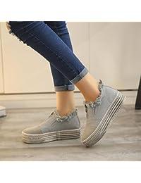 FEITONG Mujer Lona Pisos Zapatos Resbalón En Comodidad Zapatos Plano Zapatos mocasines
