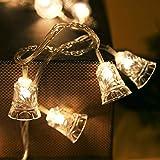 Wokee 10 LED Glocke String,1.2 M Solarbetriebene LED Lichterkette,für Innen und Außen String Licht Outdoor Xmas Party Garten Decor,IP44 Wasserdicht,für Garten (Gelb)