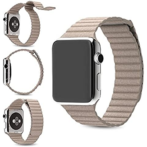 Per Apple Watch Band, Loop in Vera Pelle Con Magnete Lock Strap Ricambio Fascia per Apple Watch Tutti i Modelli no fibbia necessario