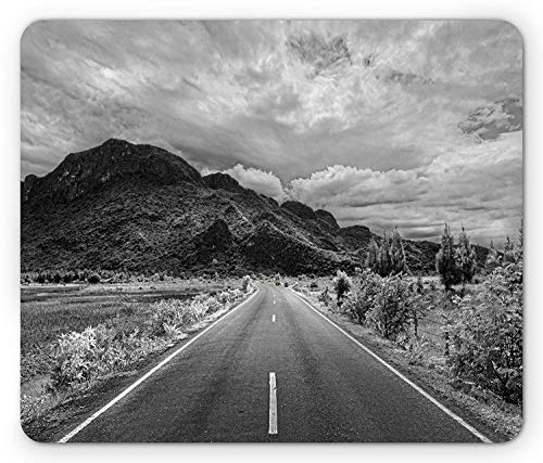 Landscape Mouse Pad, Black and White Artsy Photo of The Road Leading to a Mountain Artsy Monochrome Panorama, Standard Size Rectangle Non-Slip Rubber Mousepad, Grey (Lab Mountain The Black)