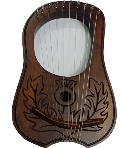 Nouvelle-Gravure-Lyre-Harpe-Harpe-10-cordes-en-mtal-Housse-de-transport-et-cl-en-bois-de-sheeshamLyra-Jante-en-palissandre
