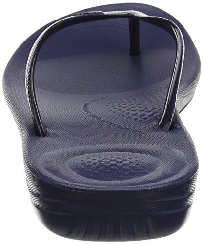 FitFlop Damen iQushion Ergonomic Flip-Flops Peeptoe Sandalen, Gold Blue (Midnight Navy)