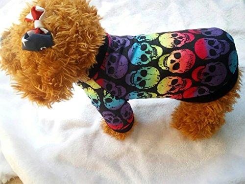 ropa para perros, Hillento Halloween gato pequeño gato ropa para mascotas colorido cráneo fantasma suéter Halloween ropa