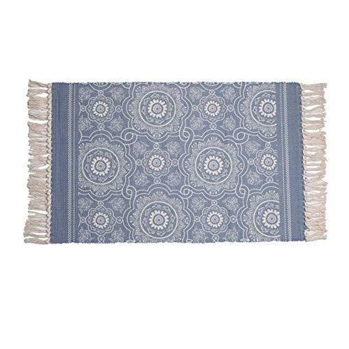 SHACOS Outdoor Teppich Baumwolle Waschbar Blau Flachgewebe Retro Teppich Mandala Für Wohnzimmer Balkon Draußen 60 x 90cm
