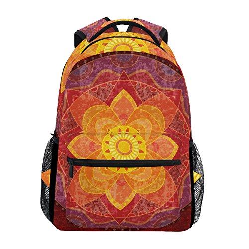 TIZORAX Hippie Mandala Yoga Psychedelic Rucksack Schulranzen Segeltuch Wandern Reise Rucksack