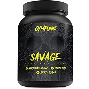 51zZUYdA7pL. SS300  - Gympunk Savage 500g Powder, Pre-Workout Booster for Maximum Pump and Focus, with Citrulline Malate, Beta Alanine and AAKG, Lemon Flavour