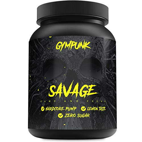 51zZUYdA7pL. SS500  - Gympunk Savage 500g Powder, Pre-Workout Booster for Maximum Pump and Focus, with Citrulline Malate, Beta Alanine and AAKG, Lemon Flavour