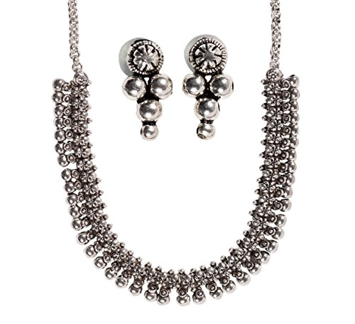 BALLERINA\'S Antique Oxidized Jewelry Necklace Earing Set (BsAOJNES018IN)