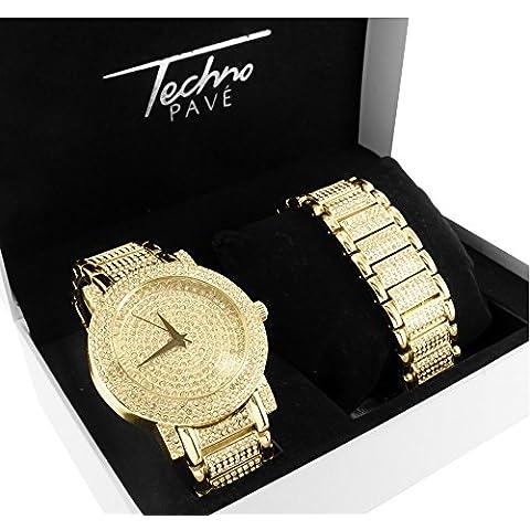 14K oro finitura Iced Out Simulated 4.0CT Diamante Techno Pave Set braccialetto orologio