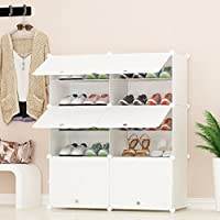 PREMAG Portable Shoe Storage Organzier Tower, White, Modular Cabinet Shelving for Space Saving, Shoe Rack Shelves for shoes, boots, Slippers