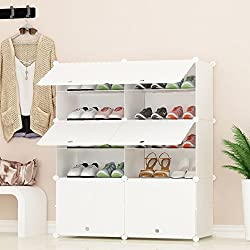 PREMAG Portable Shoe Storage Organzier Tower, White, Modular Cabinet Shelving for Space Saving, Shoe Rack Shelves for shoes, boots, Slippers (2 * 5-tier)