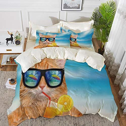 Yaoni Bettwäsche-Set, Mikrofaser, Lustig, Katze mit Sonnenbrille Cocktail im Meer Hintergrund Sommer Kitty Bild entspannen, Blue Ginger,1 Bettbezug 200 x 200cm + 2 Kopfkissenbezug 80x80cm