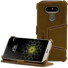 Étui / housse protection UltraMince pour LG G5 de MANNA de LEICKE | Fonction de support EASYSTAND | CUIR véritable de Nubuck | Marron avec coutures d'autre couleur | face interne toison micro | compartiment extra pour cartes crédit