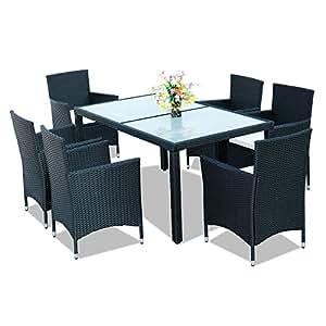 hengda sitzgarnitur 6 1 polyrattan gartenm bel schwarz garnitur gartengarnitur 5cm. Black Bedroom Furniture Sets. Home Design Ideas