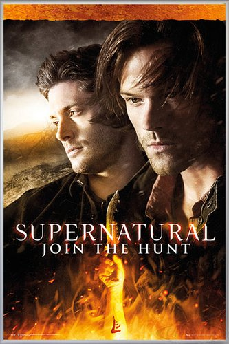 Close Up Supernatural Poster Fire (93x62 cm) gerahmt in: Rahmen Silber matt
