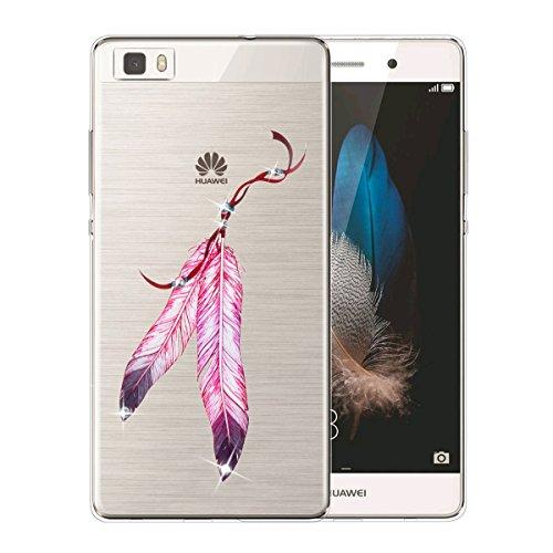 Cover Huawei P8 Lite,Custodia iPhone Huawei P8 Lite, Bonice Divertente Colorato Cristallo Bling Strass Fiore Trasparente Ultra Sottile Morbido TPU Gel Case Cover per Huawei P8 Lite , Campanula 02 model 02