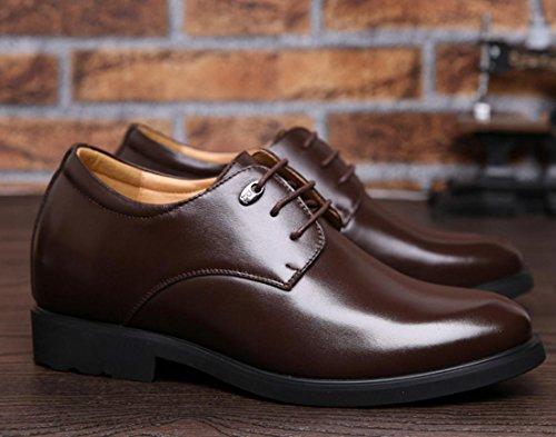 WZG Augmentation dans les chaussures en cuir des nouveaux hommes d'hiver dentelle travail chaussures chaussures habillées d'affaires Brown