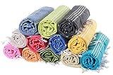 (30 Farben) Hamamtuch Pestemal 100% Baumwolle 100 x 180 cm SELBST GESTALTEN BESTICKEN | Pestemal | Saunatuch | Badetuch | Strandtuch | Handtuch | Backpacker | Fouta (Wasserblau, Bestickt mit Namen)