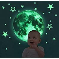 Glow in The Dark Stars and Moon Wall/Ceiling Stickers Set of 29 Big Glow In Dark Stars and 30cm glow Moon stickers Decal Decoration Luminous Moon and Glow Stars Kids Childrens Wall Stickers by iZEN