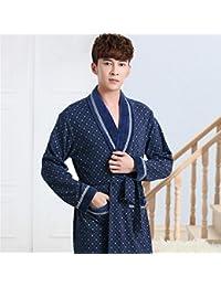 pengweisección larga de invierno pijamas de algodón para hombres de edad avanzada chándal camisón , men , xxxl