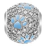 Qina C Rhodium Auf 925 Sterlingsilber Zirkonia Blau-Hündchen-Tatzen-Abdruck European Style Bead Charm