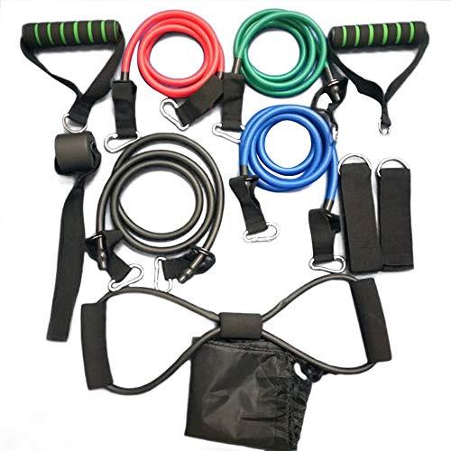 laonBonnie 11 Teile/Satz Tragbare Multifunktionale Rallye Zugseil Muskeltraining Widerstand Bands Expander Puller Trainingsröhrchen - Multicolor -