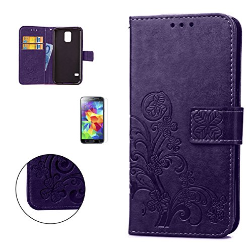 CaseHome Samsung Galaxy S5 i9600 Embossed Leather Case [With Free Screen Protector],[Four Leaf Clover] Patterned Design Folio Magnetic Flip Stand Feature with Card/Cash Slots and Wrist Strap Premium PU Leather Wallet Case Cover Skin Shell for Samsung Galaxy S5 i9600-Purple
