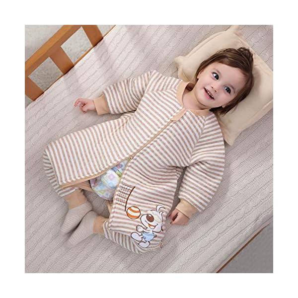 Saco de Dormir para bebé con Patas Saco de Dormir de Invierno de Manga Larga con Forro cálido y pies, Pijama de Mono… 5