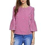 MEIbax Frauen Herbst Casual Flare Sleeve Sicke Streifen Print Friesen Shirt Tops Bluse Hemd Langarmshirt Oberteile