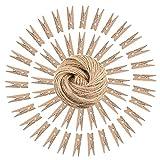 Cupcinu Wäscheklammern aus Holz, Foto-Clips, 50 Stück, inkl. 100m x 2mm natürlichem Juteschnur