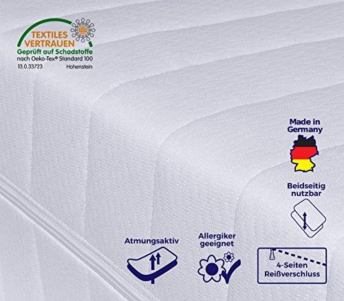 7-Zonen Matratze, Härtegrad H2 H3 (Weiß), Kaltschaummatratze, Rollmatratze, Doppeltuchbezug Waschbar, 4-Seiten-Reißverschluss, Öko-Tex Standard 100 (100 x 200 cm)