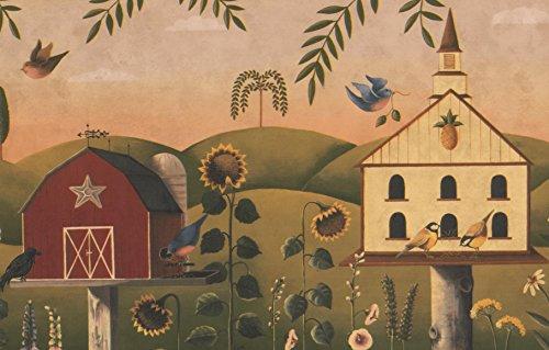 Chesapeake Schöne Vogelhäuschen Sonnenblumen Bunte Vögel Beige grüne Tapete Grenze Retro-Design, Blumen Roll 15' x 9'' (Sonnenblume-grenze)