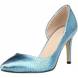 Zhuhaixmy Frühling Frau Side Empty Stiletto Krokodil High Heels Flacher Mund Pumpen Schuhe