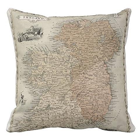 La Carte de l'Irlande Publié C 1850coloré à la main en Couvre-lit Taie d'oreiller