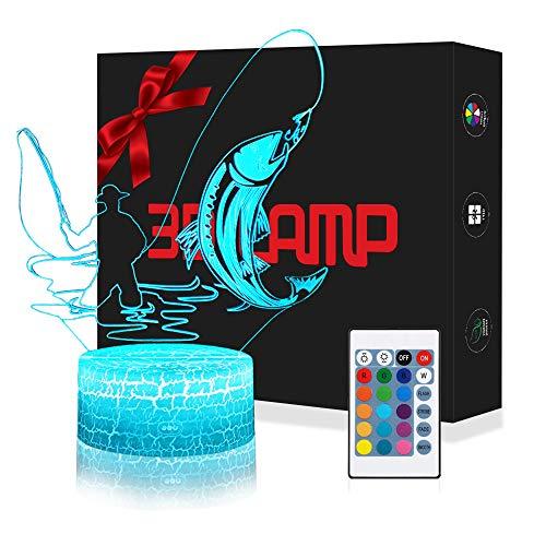 3D Angeln Lampe LED Nachtlicht mit Fernbedienung, USlinsky 7 Farben Wählbar Dimmbare Touch Schalter USB Nachtlampe GeburtstagGeschenk, FroheWeihnachten Geschenke Für Mädchen, Männer, Frauen, Kinder