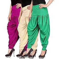 Navyataa Womens Lycra Dhoti Pants For Women Patiyala Dhoti Lycra Salwar Pant Free Size (Pack Of 3) Magenta , Cream & Green