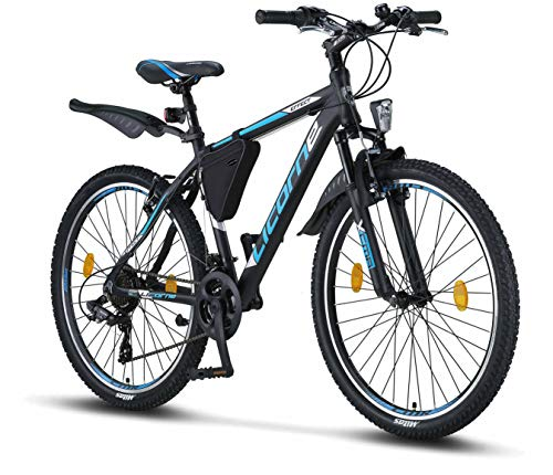 Licorne Bike Effect (Schwarz/Blau) 26 Zoll Mountainbike, geeignet ab 150 cm, Shimano 21 Gang-Schaltung, Gabelfederung, Jungen-Fahrrad & Herren-Fahrrad, Rahmentasche -