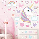 GET STICKING DÉCOR Licorne Cheval Stickers Muraux/Autocollants Collection, Rainbow Unic.4, Matt Vinyl Amovible, Multicolore. (Extra Large)