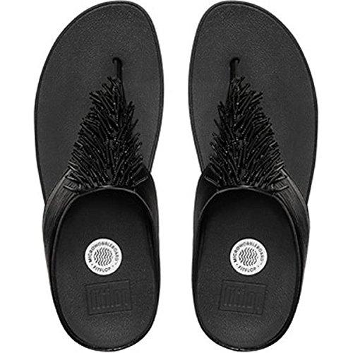Fitflop Cha Cha, Damen Zehentrenner, Black (Black 001), 41 EU (7 UK) (Leder-flip-flops Schwarz Patent)