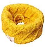 Eozy Kinder Loop Schal Junge Mädchen Strickschal Winter Warm Schlauchschal Gelb
