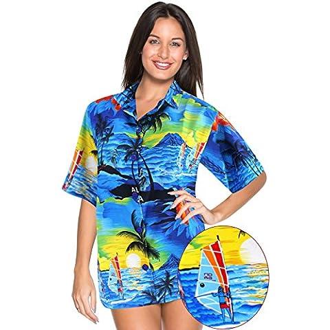 La Leela botón casual ropa de playa likre suave de la manga corta abajo del Caribe blusa de crucero Aloha sol las mujeres camisa de campo azul