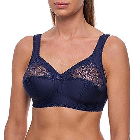 frugue Women's Full Cup Coverage Wireless Wire Free Unpadded Lace Plus Size Bra 40 E Blue