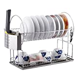 Shuang Dish Racks Küche Regal Edelstahl Geschirr Trockengestell Plastik mit Tablett für Küchenspüle abnehmbar 45.5 * 21.8 * 36.5CM 3326 (größe : 45.5 * 21.8 * 36.5CM)