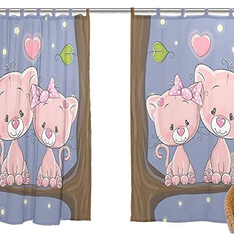 jstel Lot de 2voile rideau fenêtre, Cartoon Animal Chat Rose romantique Couple Love, en tulle Transparent Rideau Drapé Lit 139,7x 198,1cm deux panneaux de