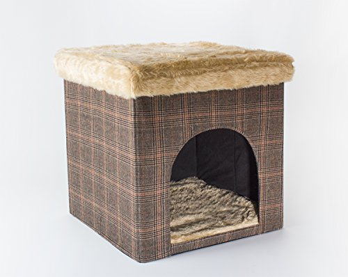 Hundehöhle und Hocker, Tweed-Optik, indoor