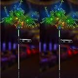 iRonrain Solar-Gartenbaum-Lichter, leuchtet automatisch für Garten, Terrasse, Garten, Hof, Weg, Dekoration, 2 Stück